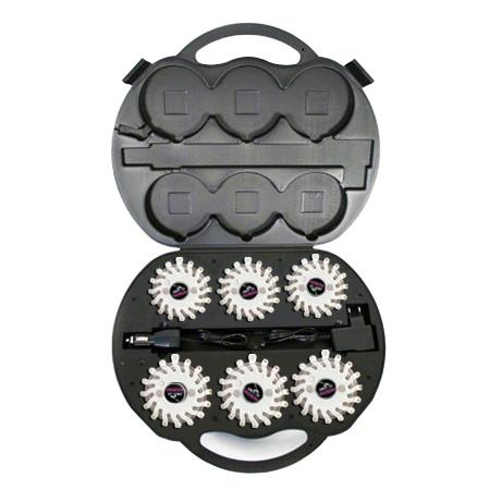 SET Výstražná světla LED Power Flash 306B v profi kufru s nabíjecí sadou