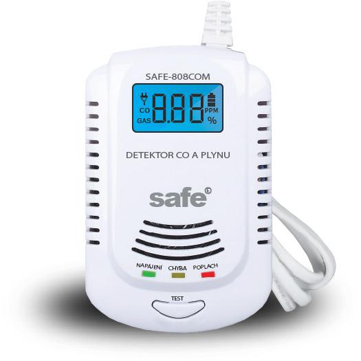 Kombinovaný detektor CO, hořlavých a výbušných plynů SAFE 808COM